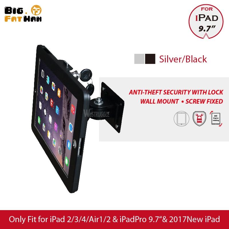 Apto para ipad 2/3/4 / air / pro wall mount caixa de metal para ipad stand suporte de exibição tablet pc suporte de bloqueio suporte Ajustar o ângulo