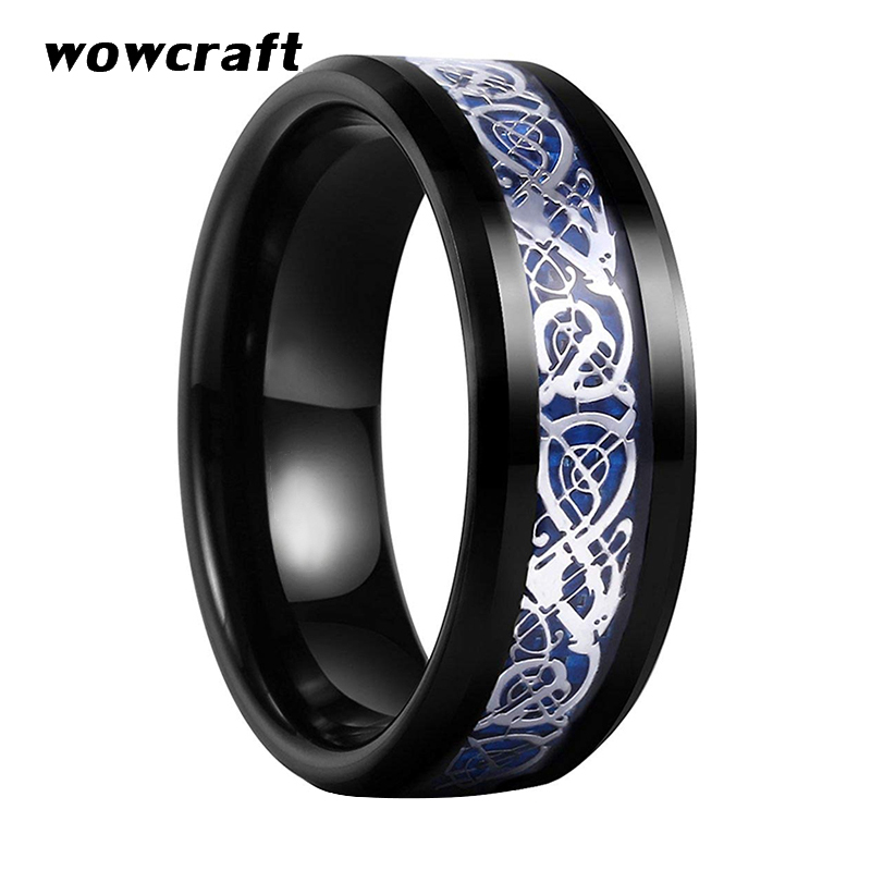 8mm Unisex Black Tungsten Carbide Ring with Silver Dragon Blue Rings Carbon Fiber Inlay Polished Shiny Beveled Design