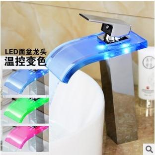 LED Waterfall Tap Glass Bathroom Sink Faucet Chrome Finish,Torneira Para De Banheiro color changing led waterfall tap for bathroom sink faucet torneira para de banheiro