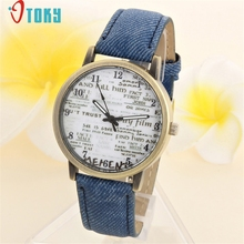 Drop Shipping Retro Letter Print Watch Women Men Denim Jeans Leather Quartz WristWatch 170626