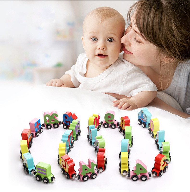 Wooden balls magnetic small train building block toy 3 6 years old children's educational toy car wooden train track