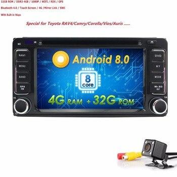 4 г + 32 г Android8.0 800*480 2din dvd-плеер автомобиля ПК GPS навигации стерео для Toyota мультимедиа экран головное устройство двойной BT Cam карта