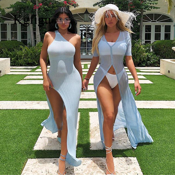 Kylie jenner robe vestidos 2019 Hot sale One Shoulder Split Summer ribbed Dress Women Slim Fit Sexy maxi Long Dress