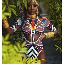 f77f14c226080c 2019 New African Tribal Swimsuit One Piece Swimsuit Totem Print Swimwear  Women High Cut Out Monokini