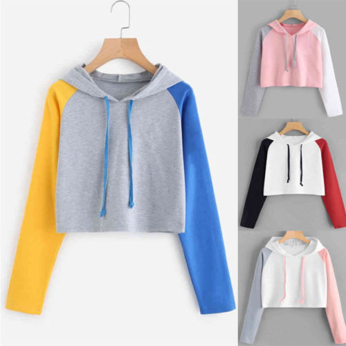 Patchwork Long Sleeve pullovers hoodies Top Drawstring Loose Cropped Patchwork Sweatshirt Women Pullover