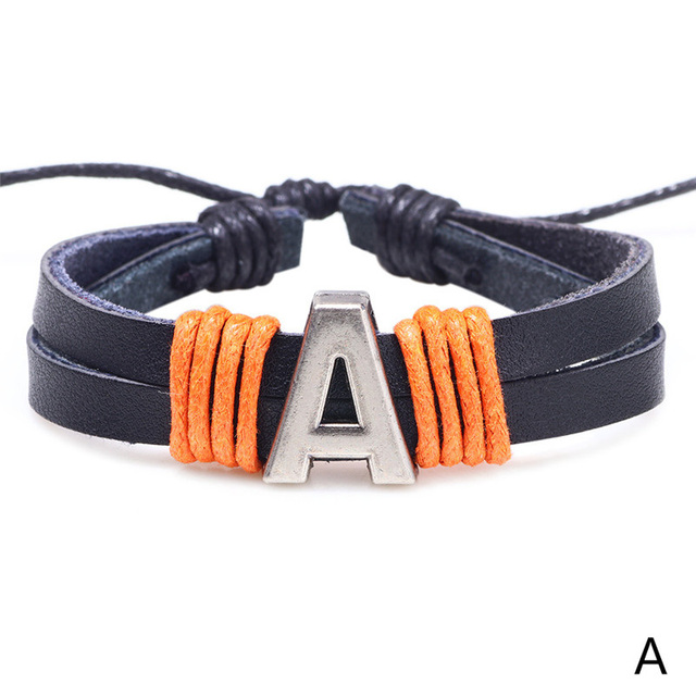 Купить новый модный мужской кожаный браслет с 26 буквами женский простой