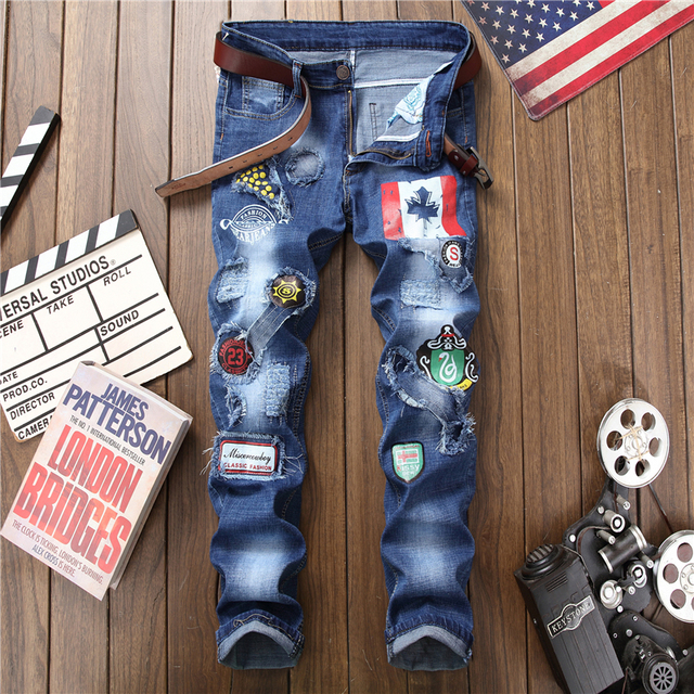 Male hole badge embroidery style denim trousers pants  2018 Fashion New Men's Casual Slim Patch Jeans Dropshipping