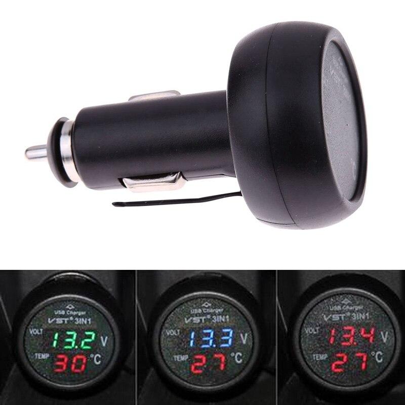 3 en 1 Digital Car Monitor de Voltaje Del Voltímetro + Termómetro + 12/24 V USB