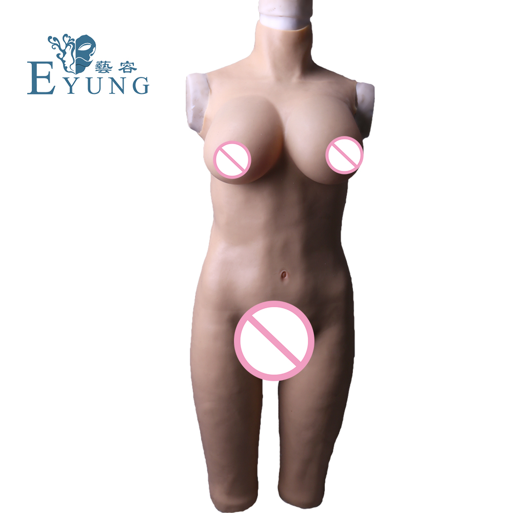 Eyung Silicone Breast Forms <font><b>Shemale</b></font> Whole Body Suits Transgender Fake Boobs Fake Vagina Real Pussy Jumpsuit for Crossdresser image