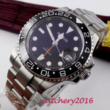 40mm Parnis Mechanical Watches Black Ceramic Bezel GMT Diver Watch Men Full Stainless Steel Sapphire Luminous Automatic Watch цена