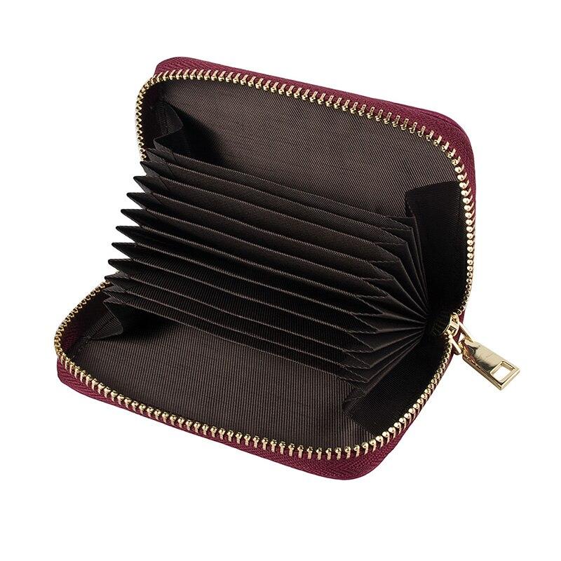 Kvinnor Dragkedja Kreditkortshållare Äkta Läder Mode Korthållare - Plånböcker - Foto 2