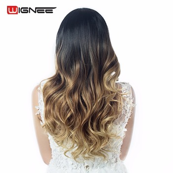 Wignee Long Body Wave Hair Synthetic  Natural Wig For Black/White Women  Ombre Black Brown/Blonde Daily Cosplay Glueless  Wig wignee hand made front ombre color long blonde synthetic wigs for black white women heat resistant middle part cosplay hair wig