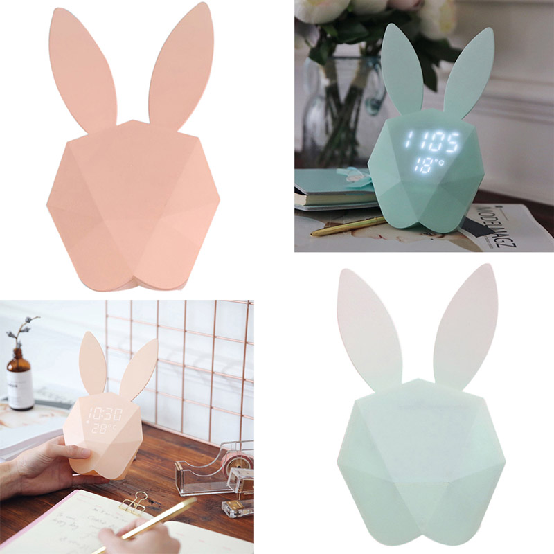 LED Sound Night Light Cute Rabbit Bunny Digital Alarm Clock Thermometer Rechargeable Table Wall Clocks ALI88 creative smart rabbit alarm clock lamp light rabbit shaped led music sound controlled night light for indoor decor drop shipping