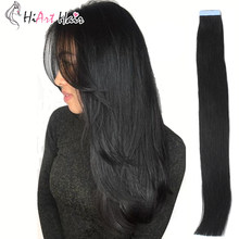 "HiArt Hair Tape Hair Extensions 100% Real Human Remy Hair #1 Salon Double Drawn Natural Hair Extension Straight 18""20""22""(China)"