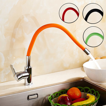 kitchen  360 Swivel Solid Brass Single Handle Mixer Sink Tap Down basin Faucet Polished Chrome and Color Tubes basin Faucet