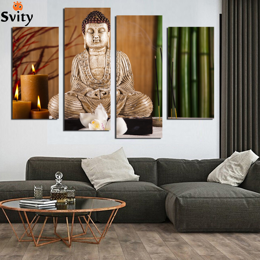 4 PCS eligion Buddha Canvas Paintings For Living Room Wall Cuadros Lienzos Decorativos decorative pictures Unframed F1855