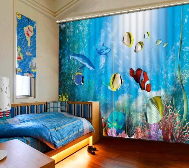 Home Curtains European Underwater World Fish Blue 3D Sheer Curtain For Living Room Bedroom