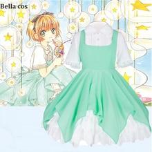 Cardcaptor Clear Card KINOMOTO Sakura, карнавальный костюм, Мятное Повседневное платье, униформа костюмы для Хэллоуина, аниме одежда, костюмы, cos
