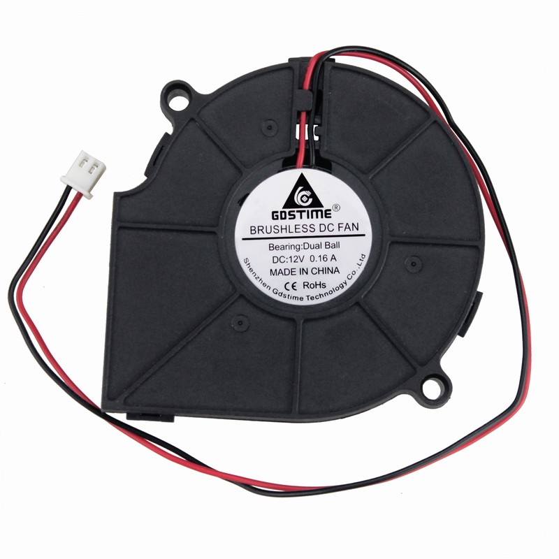 Купить с кэшбэком PROMOTION!1 Piece Gdstime DC 12V 2Pin Dual Ball Blower Fan  75mm x15mm DC 12V 0.16A 2Pin Computer PC Blower Cooling Fan