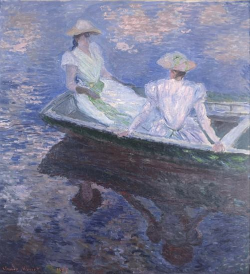 Claude Monet impressionist Painted Two women playing by boat Canvas Painting Home Decoration Wall Art For Living Room Unframed