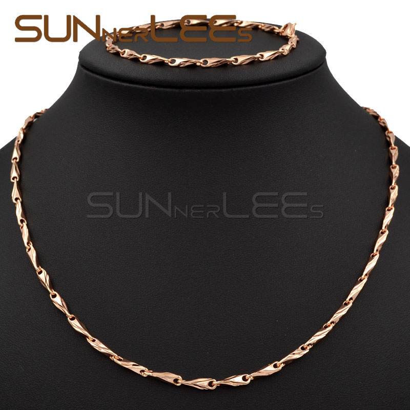 3mm New Fashion Jewelry Mens Womens Gift Rose Gold Color Necklace Bracelet Set Classic Design Link Chain C52 RS