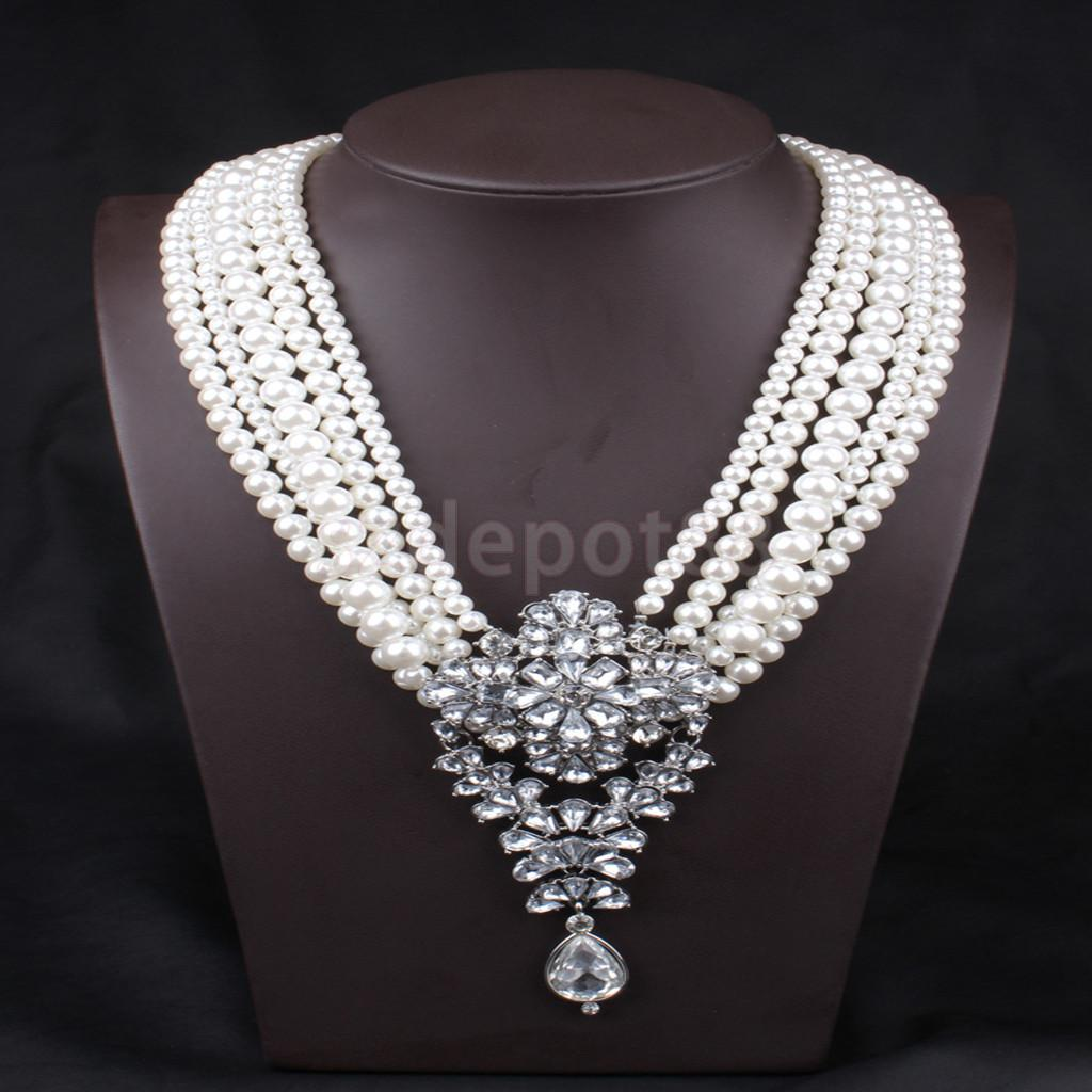 Fashion Women Jewellery Multilayer Chain Choker Elegant Faux Pearl Necklace  Crystal Pendant Choker Necklace(china