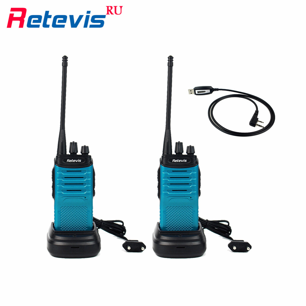 2pcs 5W Walkie Talkie Set Programming Cable Retevis RT7 16CH UHF 400 470MHz Handy Two Way