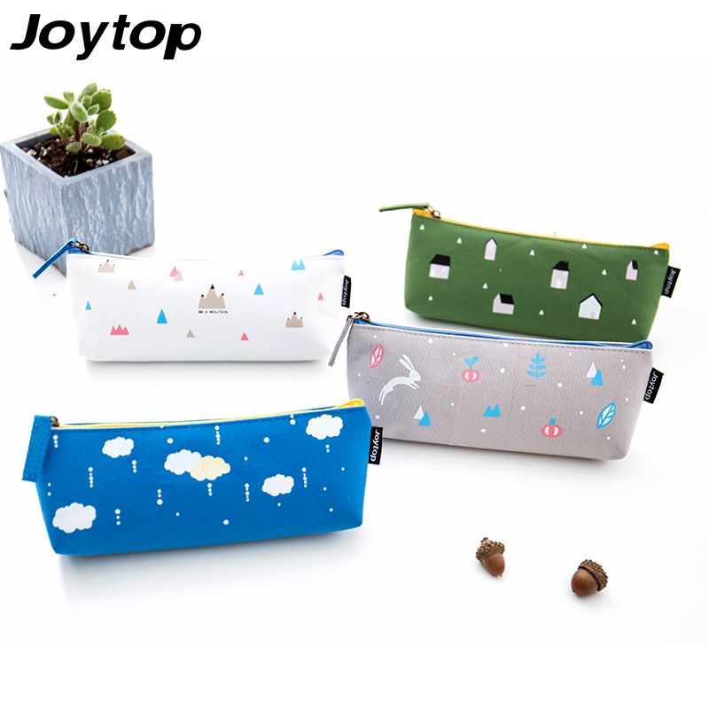 Joytop Canvas Pen bag Zipper Pencil Case Large Capacity Cute Student Pencil Bag Simple Creative Sweet Stationery School supplies students simple large capacity pencil bag large capacity creative black and white pencil case school supplies q13