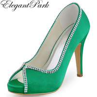 Women Green Wedding High Heel Platform Rhinestones Pumps Satin Bride Bridesmaids Prom Evening Bridal Shoes EP11083