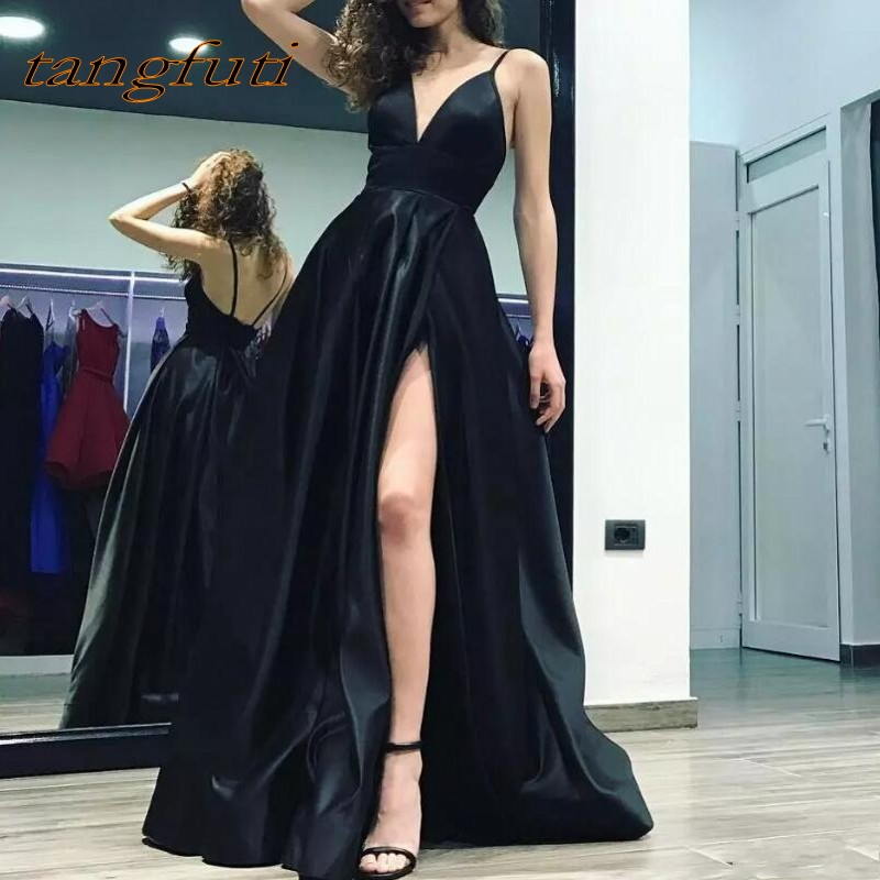 Black   Prom     Dresses   Long A Line Split Side Backless Women Party   Prom   Gowns Evening Party   Dress   Gowns Wear On Sale 2018