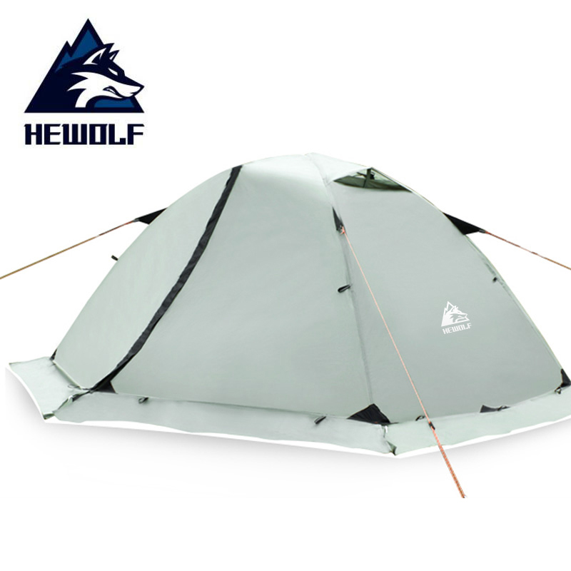 Hewolf Outdoor Camping Tent 2 Perso Beach Tourist Tents Waterproof Double Layer 4 Seasons Snow Skirt Winter Hiking Tent