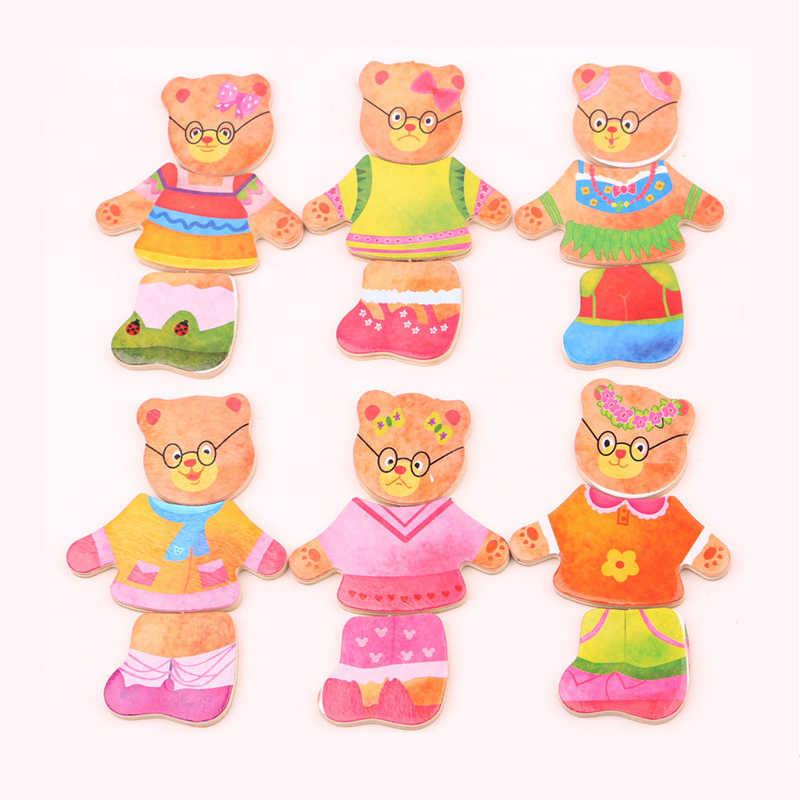 Ruizhi Anak Kayu Puzzle Set Beruang Mengubah Pakaian Permainan Belajar Bayi Berdandan Mainan Anak Mainan Pendidikan Hadiah Natal RZ1083