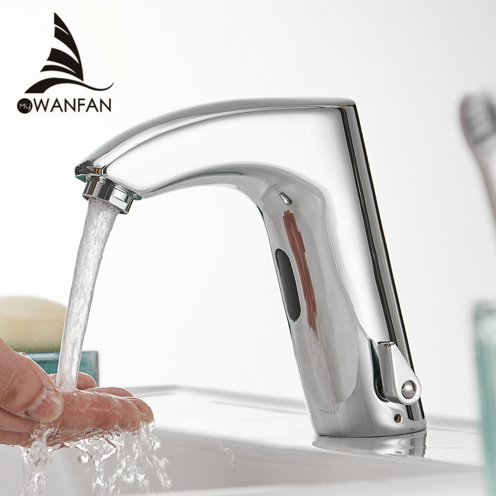 Bathroom Faucet Electric Automatic Sensor Faucet Touchless Kitchen Sink Basin Battery Power Hot And Cold Water Mixer Taps 8024