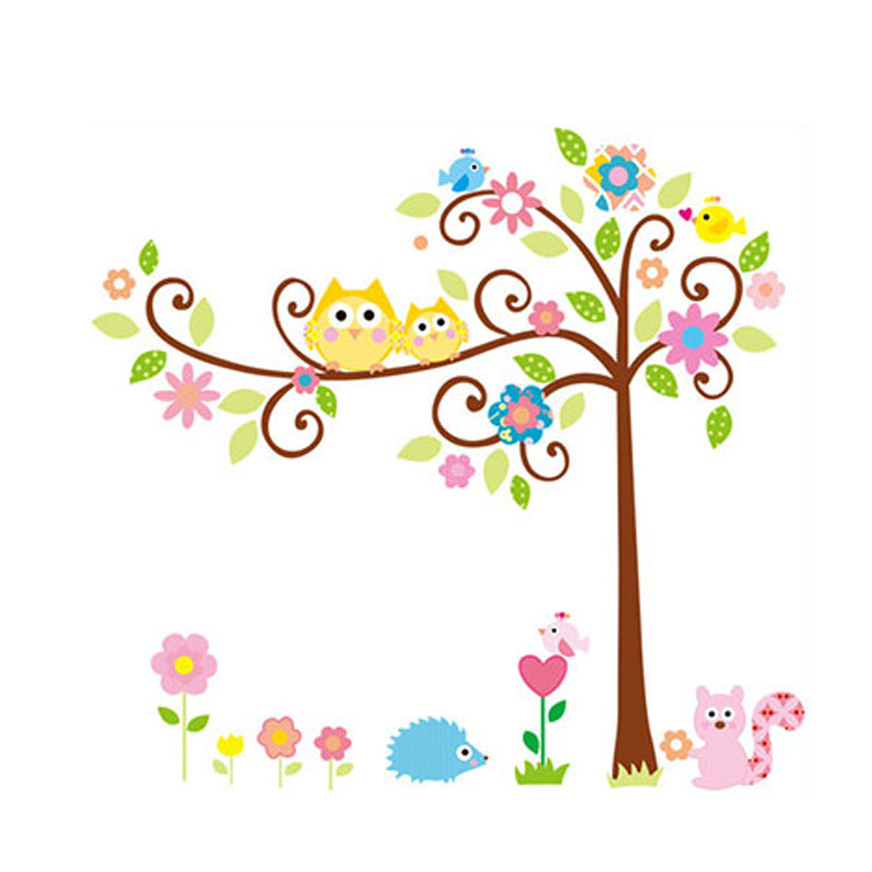Cute Owl Tree Height Measure Wall Stickers Decals Jungle Forest Wallpaper For Kids Baby Home Bedroom Nursery Decoration E2s