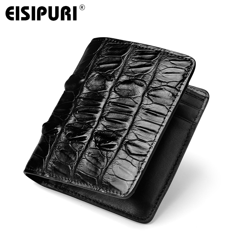EISIPURI Luxury real crocodile skin wallet men high quality business men's short wallets fashion barnd genuine leather wallet