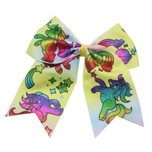 7 Inch 2019 news Hair Bows Unicorn Cheerleader Ribbon  Large  Colourful Bows Tie With Elastic Band Hair Rope For Teens Girls цены