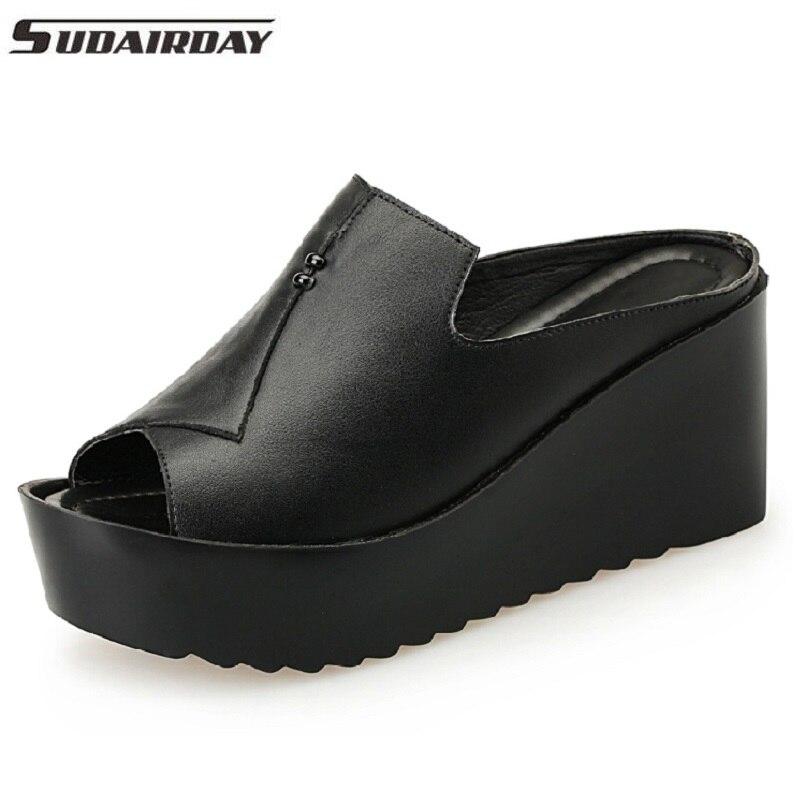 Женские босоножки 7.5 см на платформе женская обувь на танкетке толстый каблук Сандалии для девочек Пояса из натуральной кожи летние слайд О...