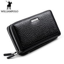 WILLIAMPOLO 2018 New Double Zipper Wallet Leather Men Dress Business Clutch Bag Flap Wallet Handy Male Clutches Genuine Leather
