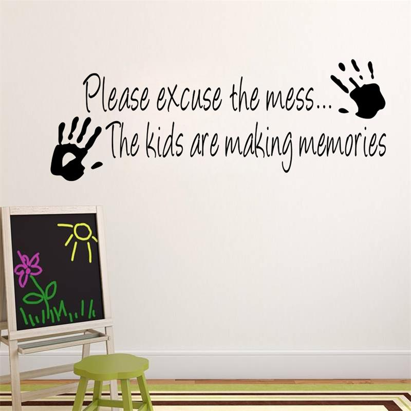 Please Excuse The Mess Vinyl Wall Sticker Home Decor Creative Quote Wall Decals Kids Room