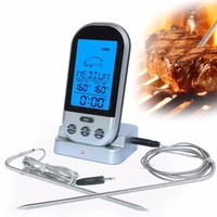 Remote Wireless Meat Thermometer With Timer For Kitchen Cooking Grilling BBQ Smoker Food Including 2 Probes