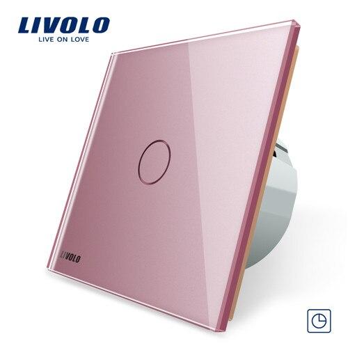 Livolo ЕС стандартный таймер(30 с задержкой), AC 220~ 250 В, 3 цвета стеклянная панель, светильник сенсорный выключатель+ светодиодный индикатор, C701T-1/2/3/5 - Цвет: Pink