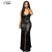 VP1033 Hot Fashion Striped Sequins Nude Summer Long Dress V Neck Sexy Club Dress 2016 Slit