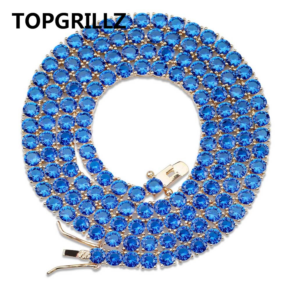 TOPGRILLZ 1 Row 4mm Round Cut Iced Out Red Blue Zirconia Tennis Chain Hiphop Gold Silver Color Plated Necklace 18 22 Inch