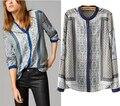 Blusas Femininas новый массимо рубашки с длинным рукавом блузка свободного покроя тотем печать рубашка дамы пульс-размера топы