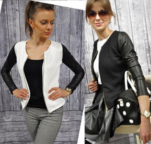 Outerwear & Coats 2016 Women Patchwork Pu Leather Short Over Coat Casual Slim Fit Basic Jacket Long Sleeve Windbreaker Women 2XL