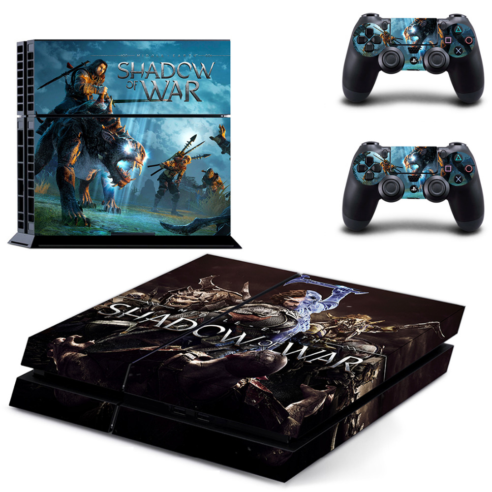 Game Shadow of War PS4 Skin Sticker Decal for Sony PlayStation 4 Console and 2 Controller Skin PS4 Sticker Vinyl Accessory