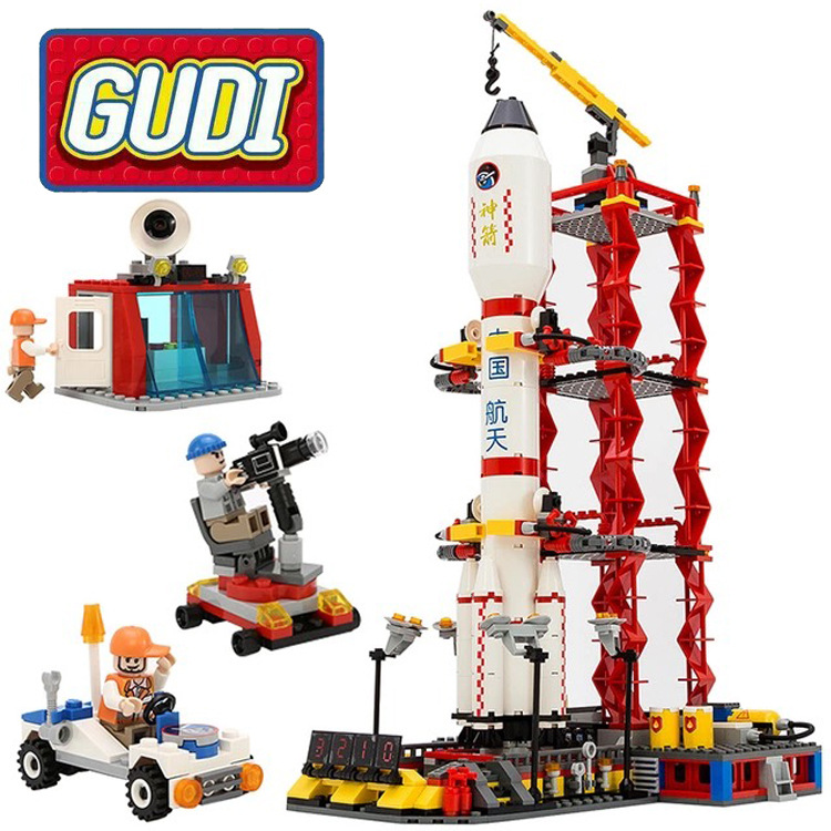 Gudi 8816 Space Series Rocket Station Launch Center Figures Model Building Blocks Compatible with Legoings City Toys gudi 679pcs star space the shuttle launch center model building block bricks toys