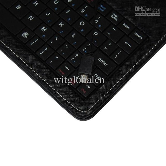 """For 7"""" Ematic eGlide Tablet +Stylus Black Leather Case + USB Keyboard Cover Free Shipping"""