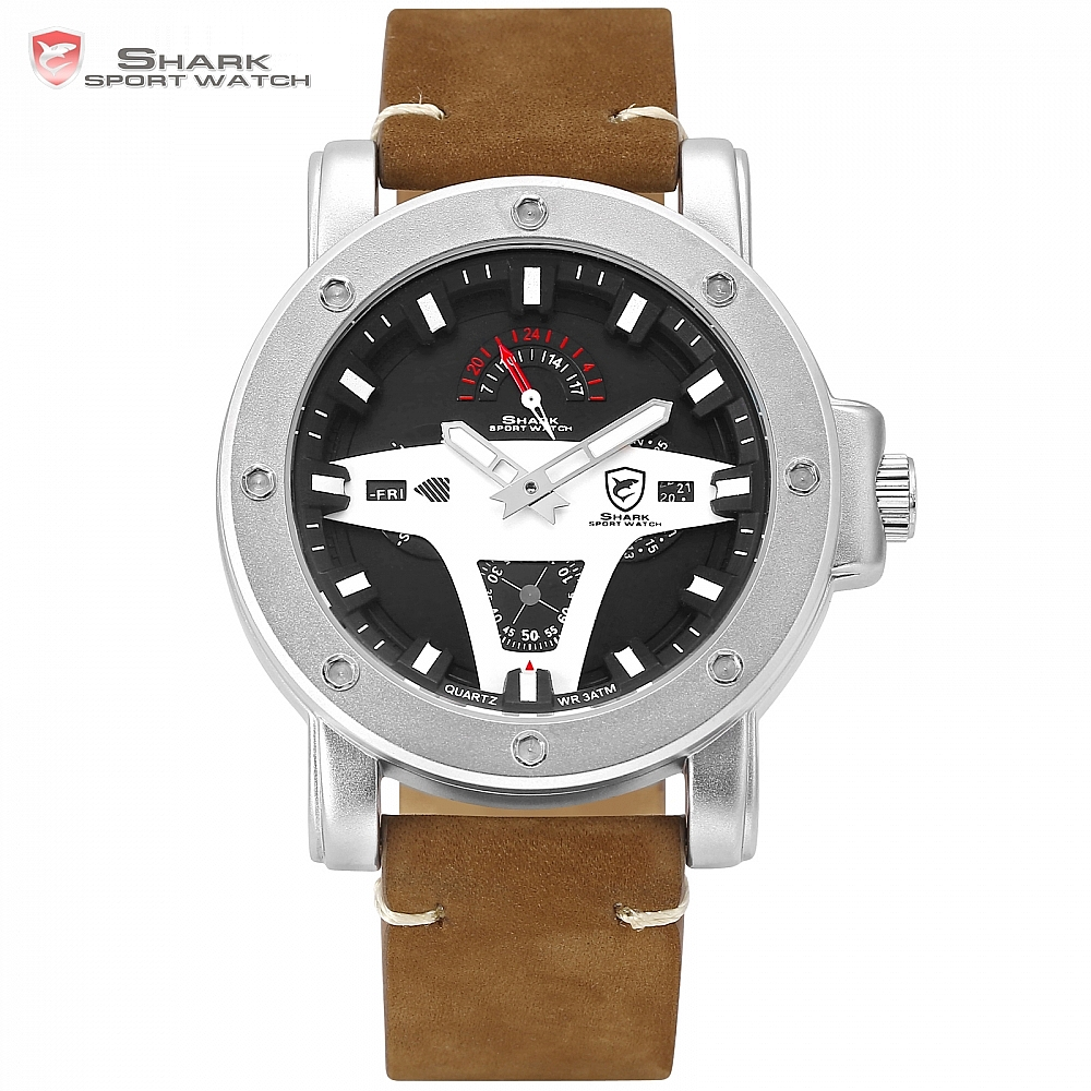 Greenland SHARK 2 Series Sport Watch Creative Brand Date Brown Crazy Horse Leather Quartz Men Watches Masculino Relogio /SH453