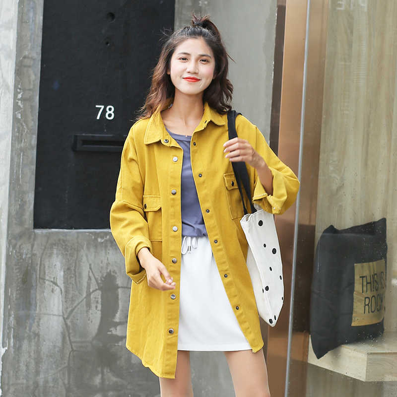 Yellow Rose Red Tops Female Spring Autumn New BeFree Denim Shirts For Women's 2019 Loose Blouses Feminine Korean Style Shirt